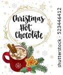 christmas hot chocolate.... | Shutterstock .eps vector #523446412