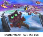Stock photo flying cats at abstract background 523451158