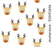 deer heads seamless pattern... | Shutterstock .eps vector #523451836