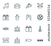 set of 16 christmas icons. can... | Shutterstock .eps vector #523460116