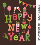 happy new year lettering with... | Shutterstock .eps vector #523463338