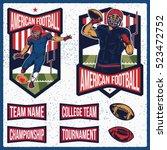retro american football labels  ... | Shutterstock .eps vector #523472752