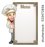 cartoon female woman chef or... | Shutterstock .eps vector #523472836