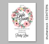 wedding invitation floral...   Shutterstock .eps vector #523475596