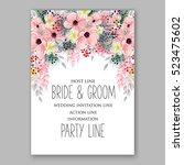 wedding invitation floral... | Shutterstock .eps vector #523475602