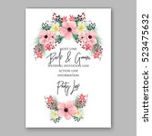 wedding invitation floral... | Shutterstock .eps vector #523475632