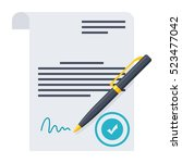 agreement with stamp and... | Shutterstock .eps vector #523477042