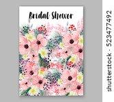 wedding invitation floral...   Shutterstock .eps vector #523477492