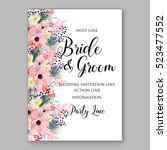 wedding invitation floral... | Shutterstock .eps vector #523477552
