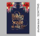 poinsettia christmas party... | Shutterstock .eps vector #523477945