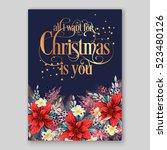 poinsettia christmas party...   Shutterstock .eps vector #523480126