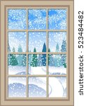 winter christmas window with a... | Shutterstock .eps vector #523484482