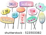 photo booth props colors text... | Shutterstock .eps vector #523503382