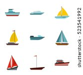 boat icons set. flat... | Shutterstock . vector #523541992