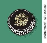 craft beer bottle cap with... | Shutterstock .eps vector #523556002