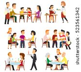 Stock vector different situations in the restaurant waiters serve the tables in the cafeteria isolated on 523561342