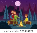 family picnic by fire at night. ... | Shutterstock .eps vector #523563922