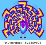 multicolored peacock in techno... | Shutterstock .eps vector #523569976