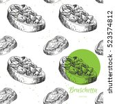 hand drawn italian food... | Shutterstock .eps vector #523574812