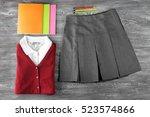 school uniform and accessories... | Shutterstock . vector #523574866