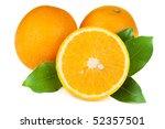 Fresh Juicy Oranges With Leafs...