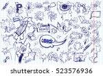 cartoon cloud icons in comic... | Shutterstock .eps vector #523576936