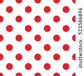 seamless red polka dot pattern... | Shutterstock .eps vector #523586896