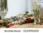 florist shop. fresh flowers... | Shutterstock . vector #523590205