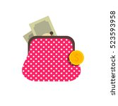 purse with money icon.vector...   Shutterstock .eps vector #523593958