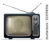 retro tv set with viewer... | Shutterstock . vector #523598506