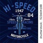 motorcycle racing typography  t ... | Shutterstock .eps vector #523604188
