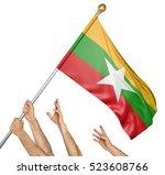 team of peoples hands raising... | Shutterstock . vector #523608766
