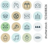 set of 16 happy new year icons. ... | Shutterstock .eps vector #523608826