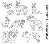 low poly line animals set.... | Shutterstock .eps vector #523613056