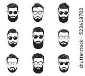 set of vector bearded men faces ... | Shutterstock .eps vector #523618702