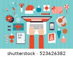 christmas and new year holiday... | Shutterstock .eps vector #523626382