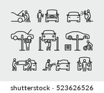auto mechanic working on a car... | Shutterstock .eps vector #523626526