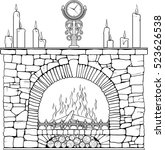 stone fireplace with clock and... | Shutterstock .eps vector #523626538