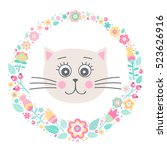 Stock vector cute cat vector card with hand drawn kitten face and floral wreath pastel colors yellow pink 523626916