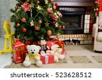 decorated christmas room  and a ... | Shutterstock . vector #523628512