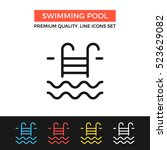 vector swimming pool icon.... | Shutterstock .eps vector #523629082
