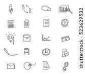 business idea doodles icons set.... | Shutterstock .eps vector #523629532