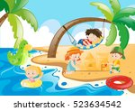 children enjoy playing on the... | Shutterstock .eps vector #523634542