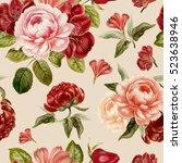 vintage peony pattern. hand... | Shutterstock . vector #523638946