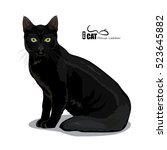 Stock vector black cat with green eyes isolated on white vector illustration eps 523645882