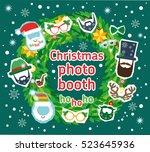 christmas santa  photo booth... | Shutterstock .eps vector #523645936