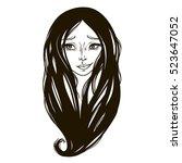 black the silhouette portrait... | Shutterstock .eps vector #523647052