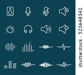 thin line audio icons on blue...