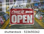 a business sign that says 'come ... | Shutterstock . vector #523650262