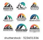 hand drawn mountains logo set.... | Shutterstock .eps vector #523651336